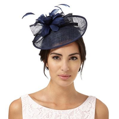 Debut Navy feather flower saucer fascinator  9c110be5a1c