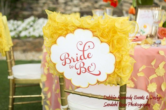 Cute way to decorate the bride to be's chair at a bridal shower! See more party ideas at CatchMyParty.com. #bridalshower #partydecorations