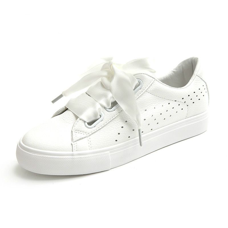 63240a58ff33 Woman White Shoes with Silk Ribbon Women Summer Shoes with Bow Lace Up 2017  New Fashion