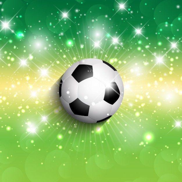 Pelota de f tbol en un fondo verde brillante vector gratis for Fondos de futbol