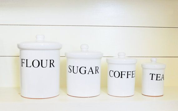 4 Piece White Kitchen Canister Set, Black Writing for Flour ...