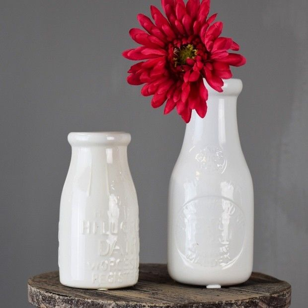 Creamy White Milk Bottle Vases Set Of 2