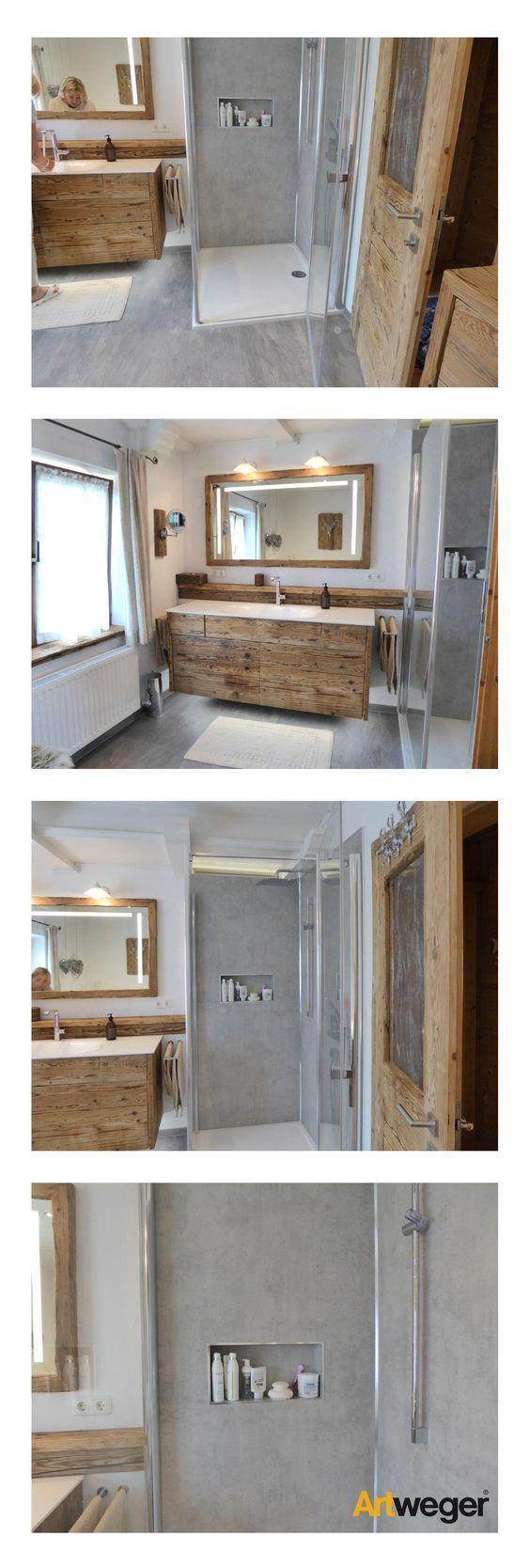 gelungene badsanierung mit artweger twistline dusche artwall wandpaneelen in beton dazupassenden grauen bodenfliesen und - Liebenswurdig Grunes Schlafzimmer Ausfuhrung
