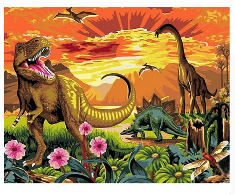 Dinosaur Paint by Number Kit, Dinosaur painting Canvas ...