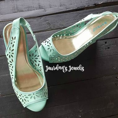 Mint Wedges. Bamboo Wedges. Flower Wedges. Mint and Gold Wedges. Summer Wedges. Spring Wedges. Just $25 at Jourdan's Jewels.