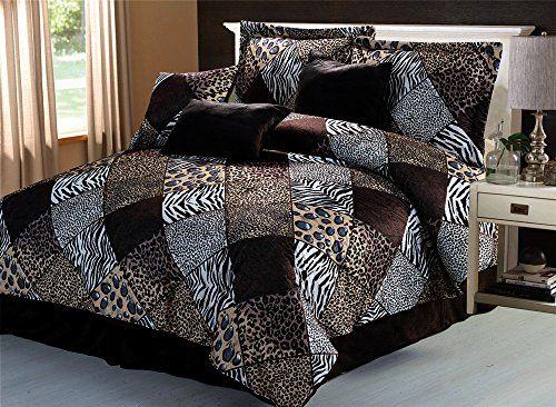 Safari Comforter Set Zebra Giraffe Leopard Tiger Multi Animal Print Bed In A Bag Brown Beige Black White Micro Fur Bedding Comforter Sets Animal Print Bedding Print Comforter