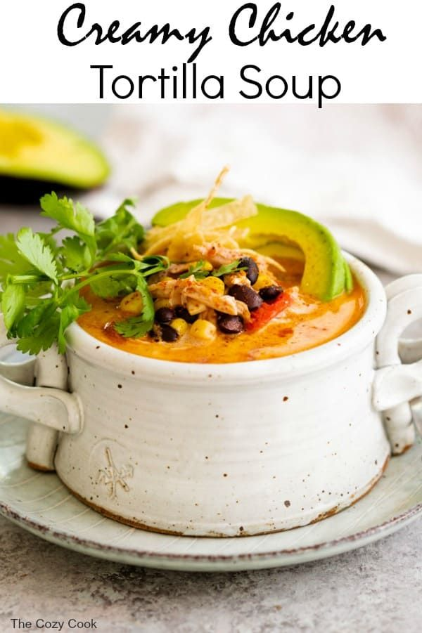 Creamy Chicken Tortilla Soup - The Cozy Cook