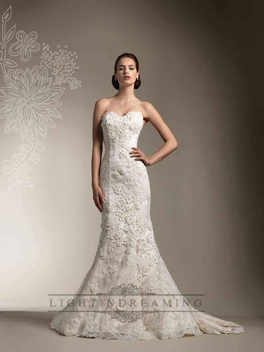 Trumpet lace appliques beaded all lace over wedding dress with long