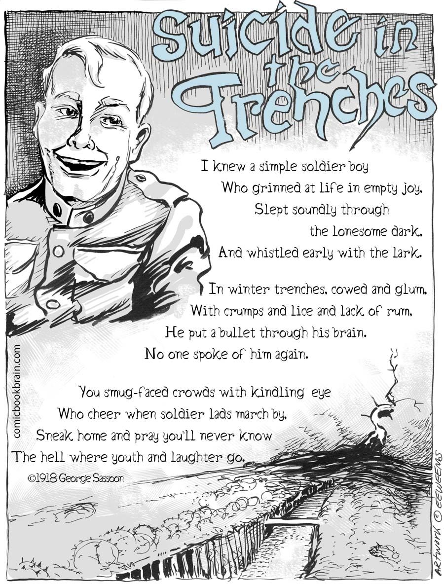 in flanders fields by john mccrae and suicide in the trenches by siegfried sassoon essay Start studying english writing pieces learn vocabulary, terms, and more with flashcards, games, and other study tools.
