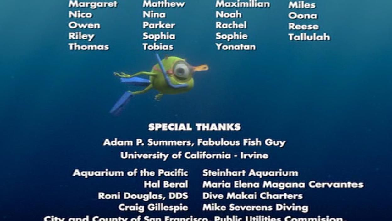 Disney secrets! During the end credits, Mike Wazowski (the one-eyed character fromMonsters, Inc. (2001)) can be seen swimming across the screen whilewearing scuba-diving equipment.
