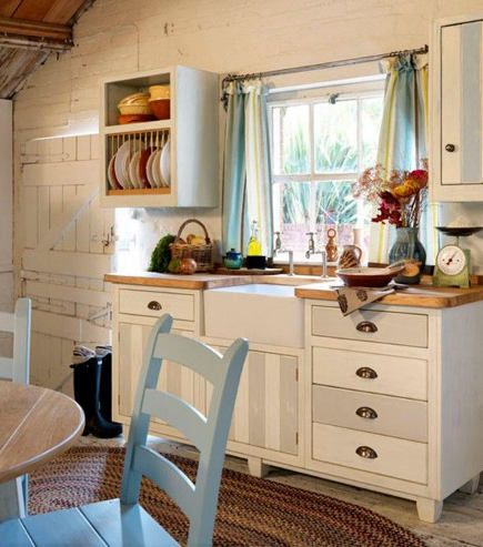 gray and white striped cottage kitchen sink base from the Steamer ...