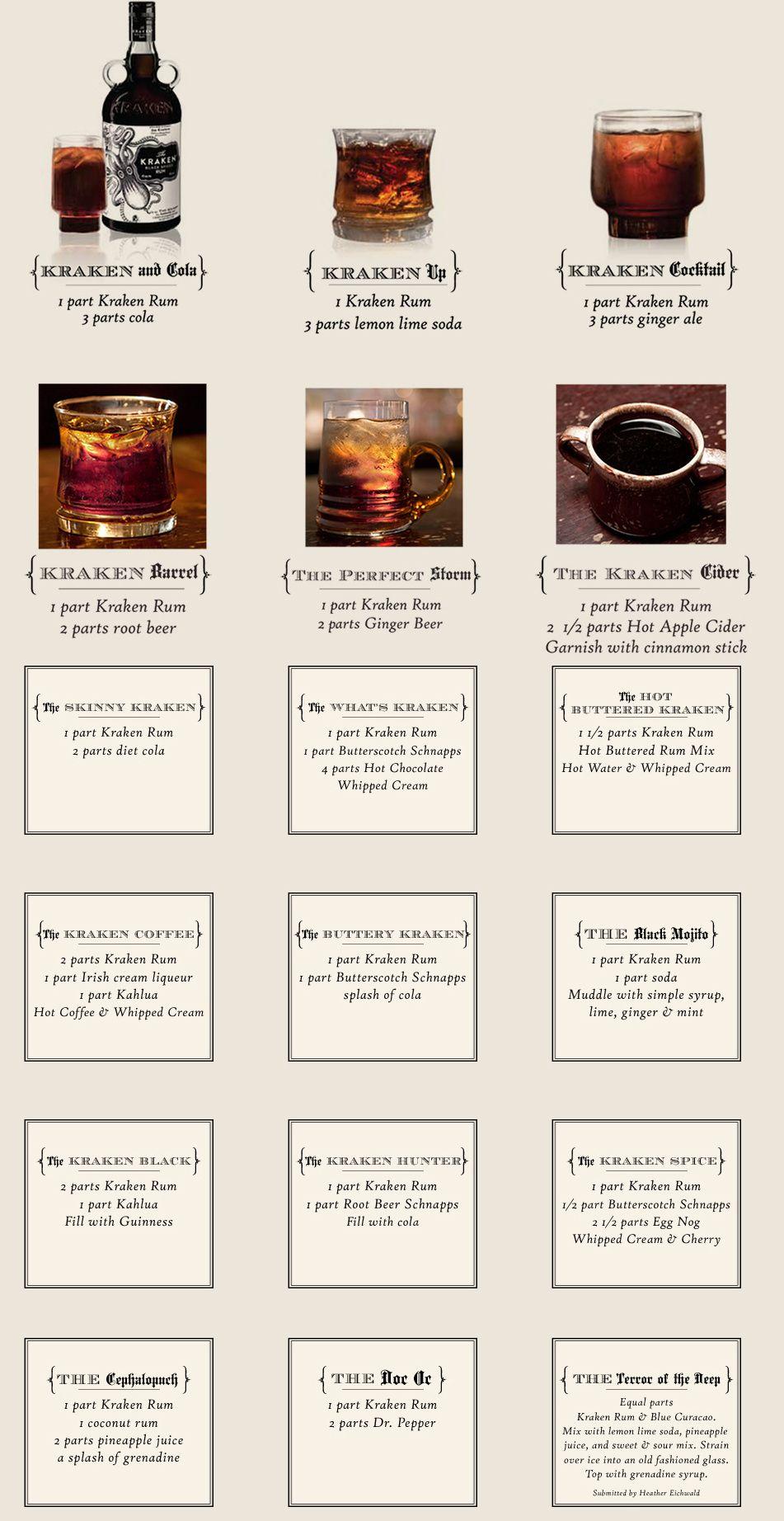 Kraken Recipes Rum Drinks Rum Drinks Recipes Kraken Rum