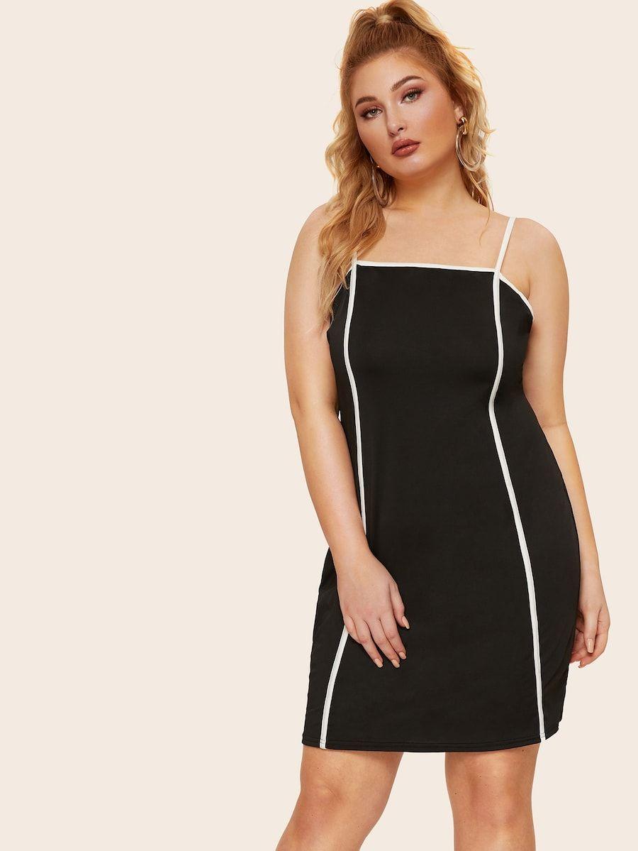Plus contrast trim cami dress shein with images cami