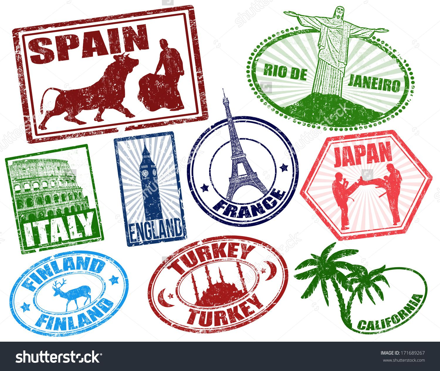 Set of stylized grunge travel stamps on white, vector illustration
