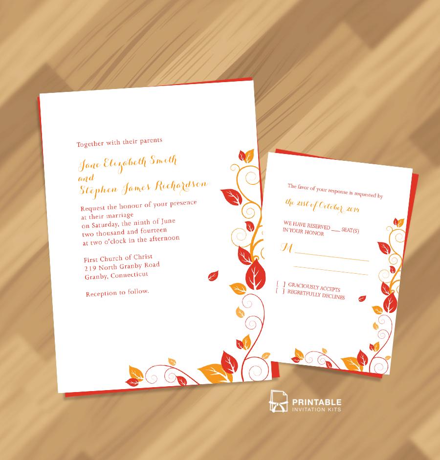 Free Wedding Invitation Downloads: FREE PDF Wedding Downloads. Autumn Foliage Wedding