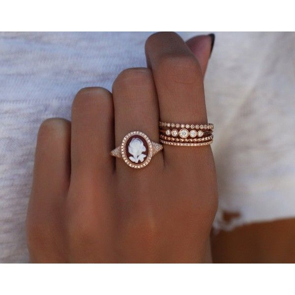 14kt rose gold and diamond one of a kind rose cameo ring Luna Skye