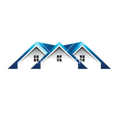 Roof Houses Logo Vector On Vectorstock House Roof Blue Roof Modern Roofing