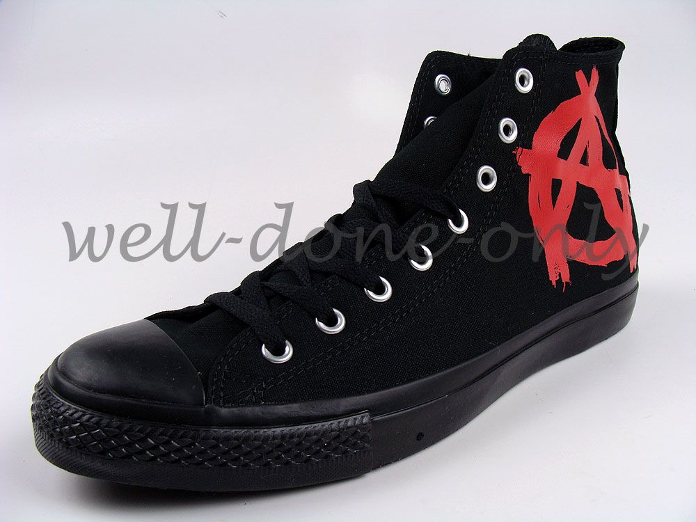 retro Converse CT All Star vtg black red A Anarchy vegan