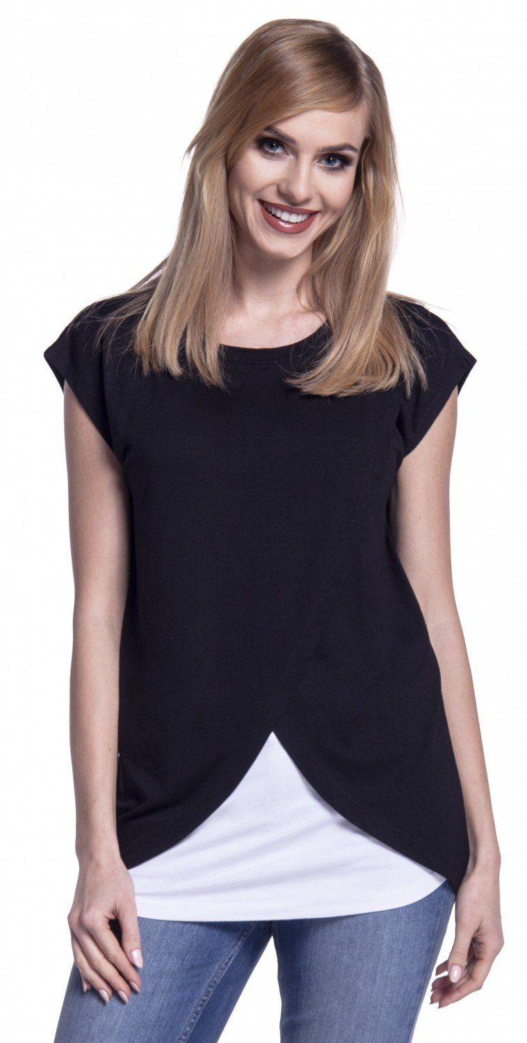 d40f6a2252336 nursing tops - Happy Mama. Womens Maternity Nursing Wrap Top Cap Sleeves.  Double Layer. 448p Black US 8 L >>> For more information, browse through  picture ...