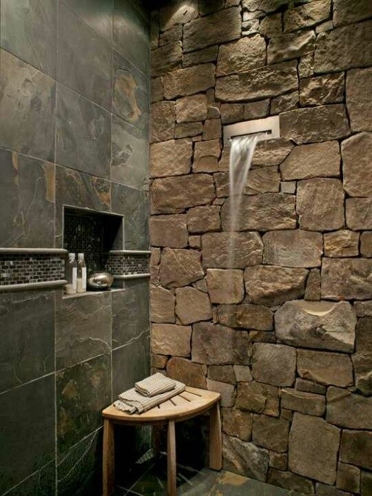 Natural stones shower wall system a wooden corner bench permanent ...