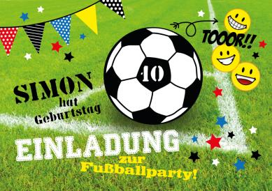 Für Kleine Fußballer: Fröhliche Einladung Zum Kindergeburtstag Mit Fußball  Und Smileys.