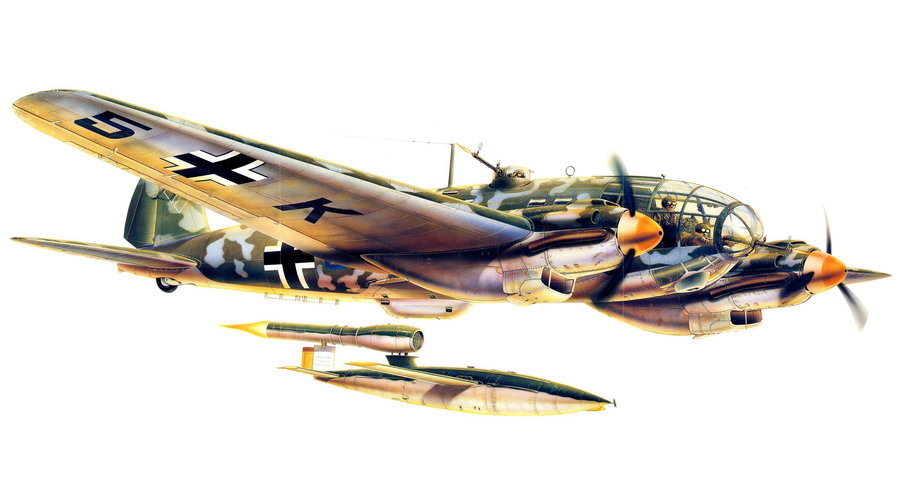 Heinkel He 111H-22 + Fieseler Fi 103 V-1, Netherlands, late 1944