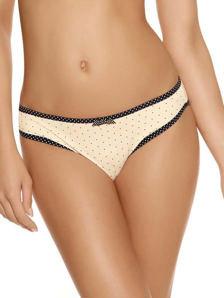 An essential in any woman's wardrobe, this microfiber panty is the perfect match to the newest Freya Deco Spotlight Plunge Bra - a seasonal feature from the coveted brand. The Spotlight collection features black polka dots over a classic ivory base to add femininity and fashion to this Deco style. Available in sizes Small-XL