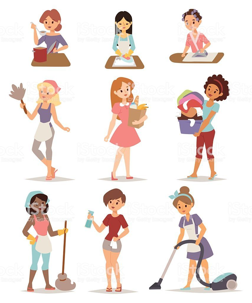 Set Of Housewife Icon Homemaker Cleaning Ironing Cook Wash And Royalty Free Set Of Housewife Icon Homemaker Cleaning Cartoon Cleaning Lady Vector Illustration
