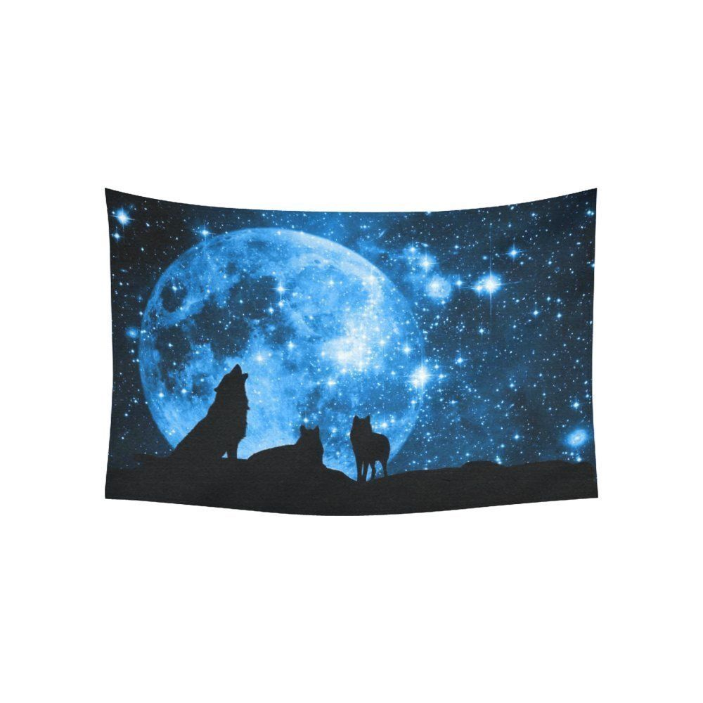Moon at night scene wall art home decor wolves against a blue