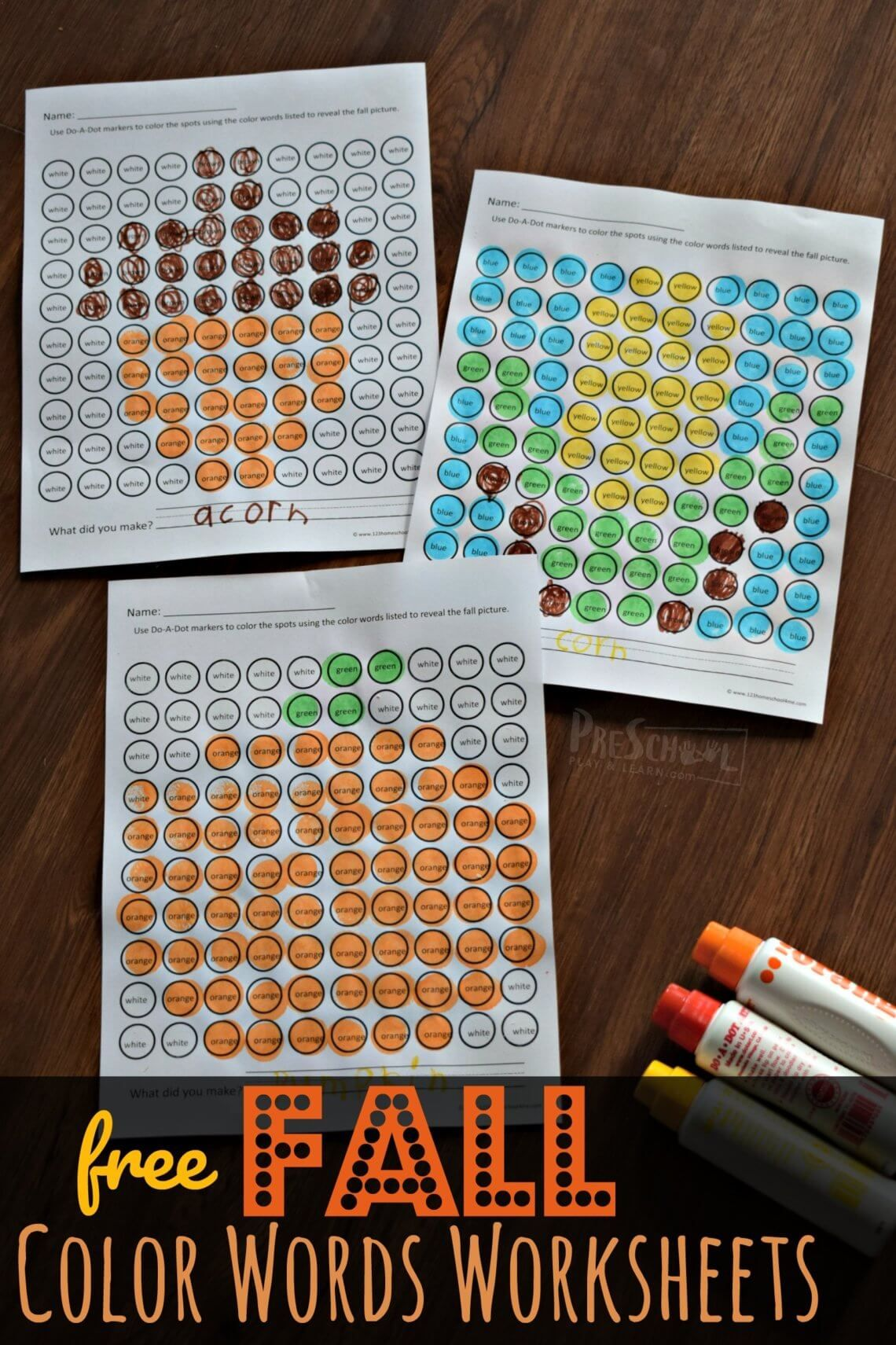 Free Fall Color Words Worksheets