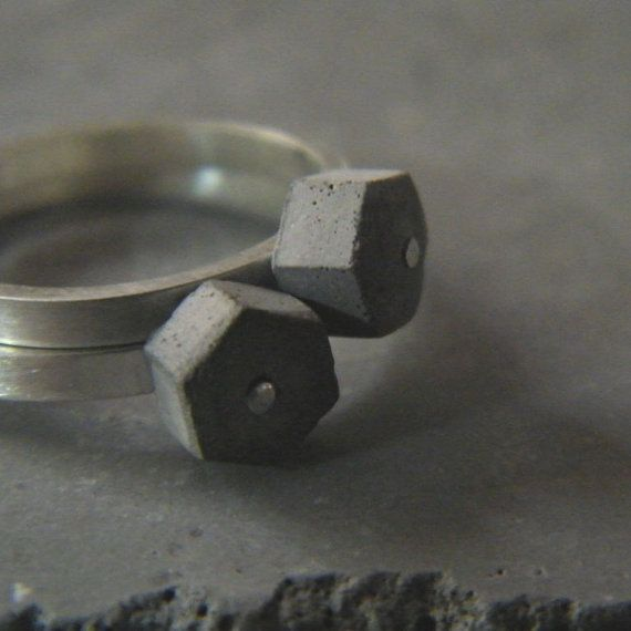 Set of two concrete hexagon stacking ring, by BAARA Jewelry on Etsy. Unique, urban, and delicate. All at once. $80