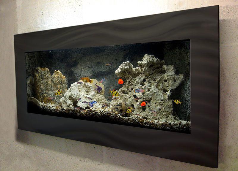 Large Black Wall Mounted Aquarium Glass Fish Tank F1l B