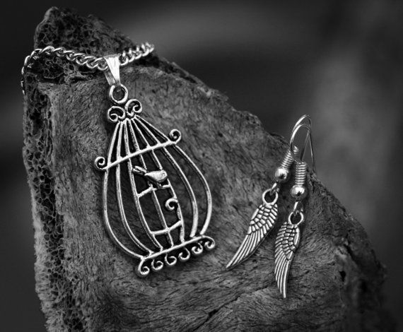 Bird Cage Pendant with Feathered Wing Earrings