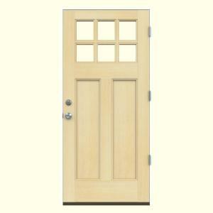 Jeld Wen 36 In X 80 In 6 Lite Craftsman Unfinished Wood Prehung Left Hand Outswing Front Door