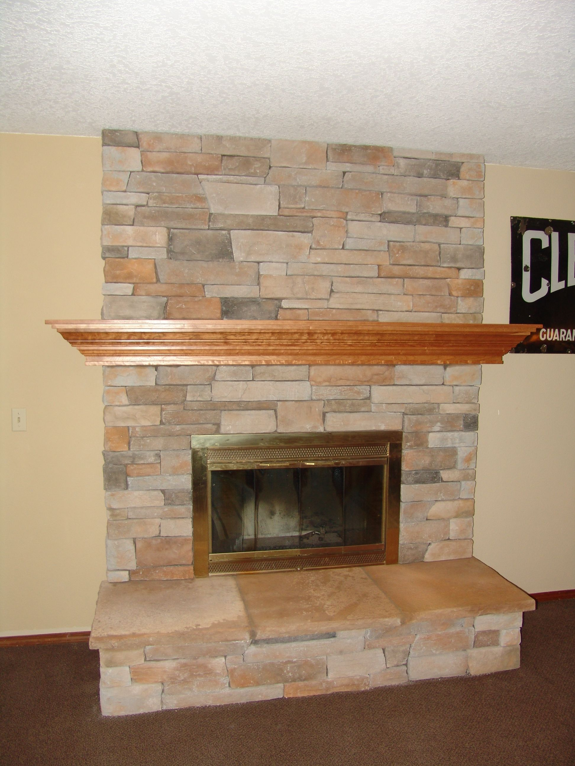 Indoor Fireplace Cultured Stone Raised Hearth Remodel Of Red Brick Fireplace Wood Burning Mantle Fireplace Red Brick Fireplaces Brick Fireplace Makeover
