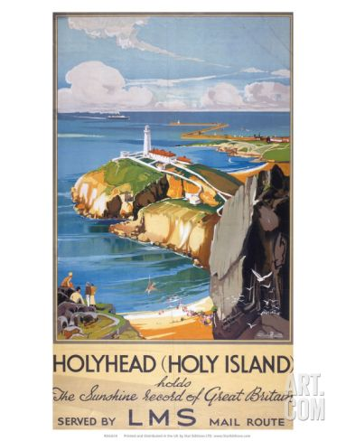 1920/'s LMS Holyhead North Wales Railway Poster A3 A2  Reprint