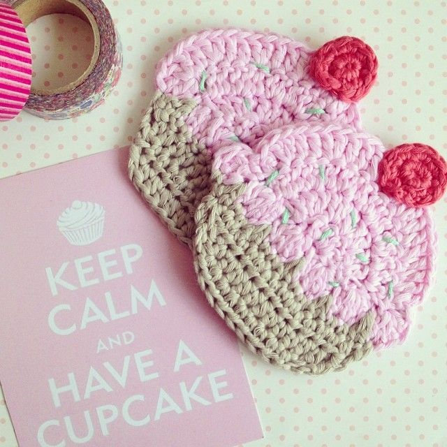 crochet #handmade #cupcakes   crochet   Pinterest   Apliques ...