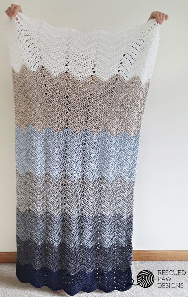Ombre Ripple Crochet Blanket Pattern by Rescued Paw Designs | Colchas