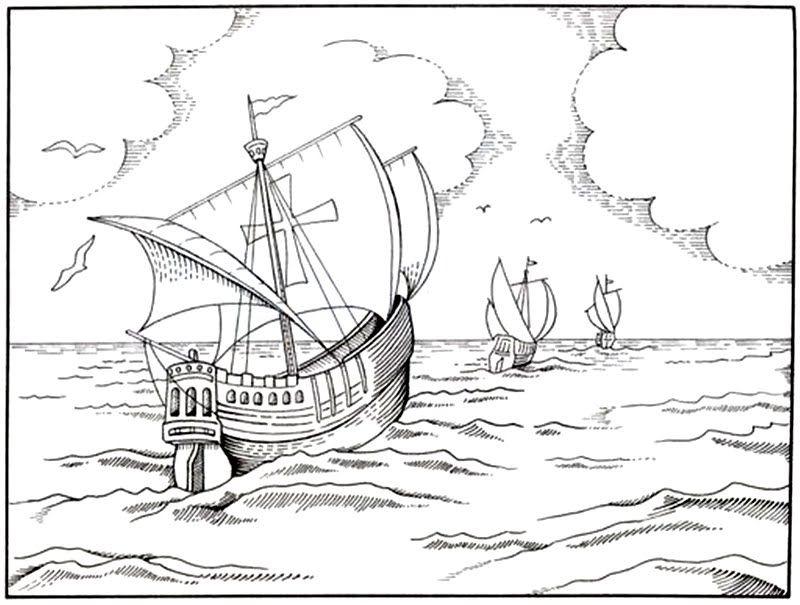 Dibujo De Las Tres Carabelas De Cristobal Colón Para Colorear
