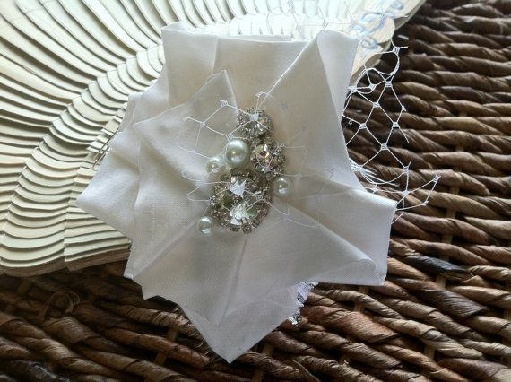Wedding Hair Flower/ Bridal Hair Accessories / Birdcage Veil / Hair Accessories/ Wedding Hair Comb / Dupioni Silk Flower