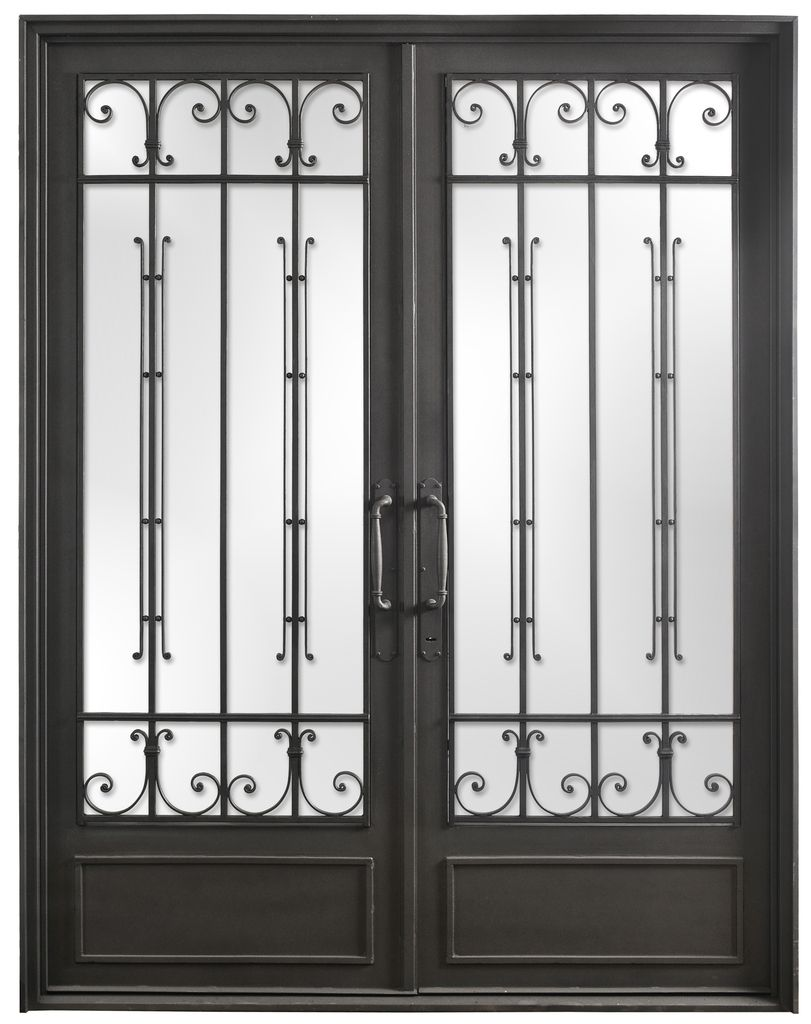 Puerta doble hoja de hierro forjado del hierro design - Puertas de aluminio doble hoja ...