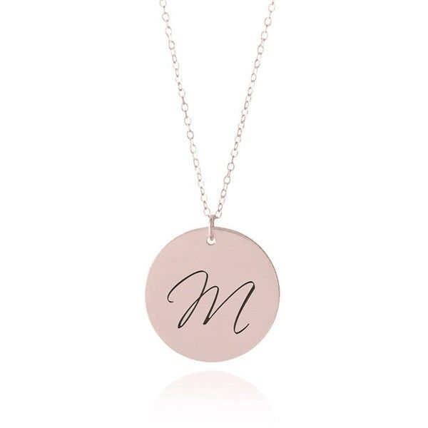 Rose Gold Initial Necklace 55 liked on Polyvore featuring