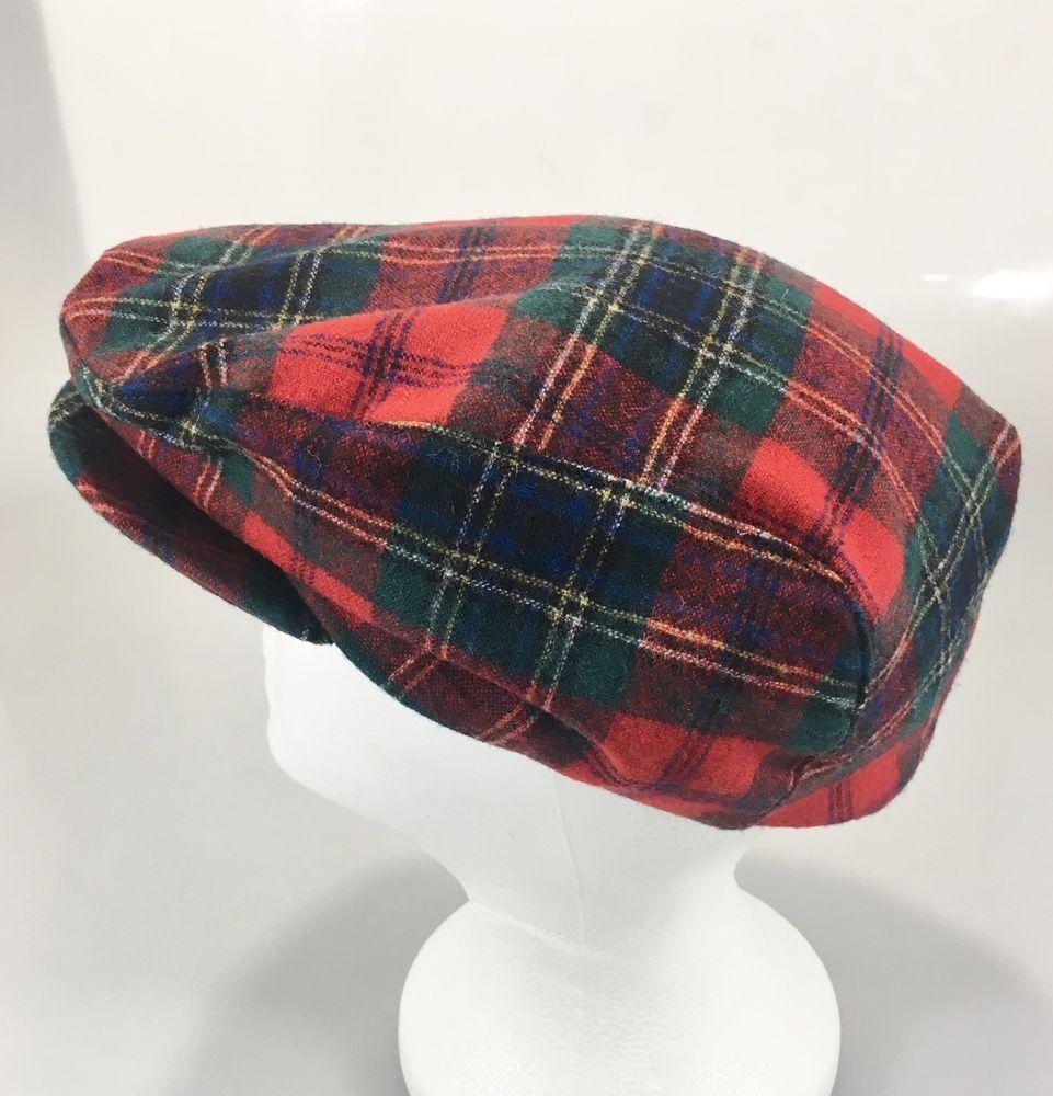 Pendleton Mens L Red Tartan Plaid Virgin Wool Cap Hat Cabbie Newsboy Made  in USA  Pendleton  NewsboyCap c83001a3072d