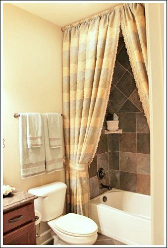 Beautiful Bathroom Decorating Ideas   A Shower Curtain Hung At The Ceiling! Love It!
