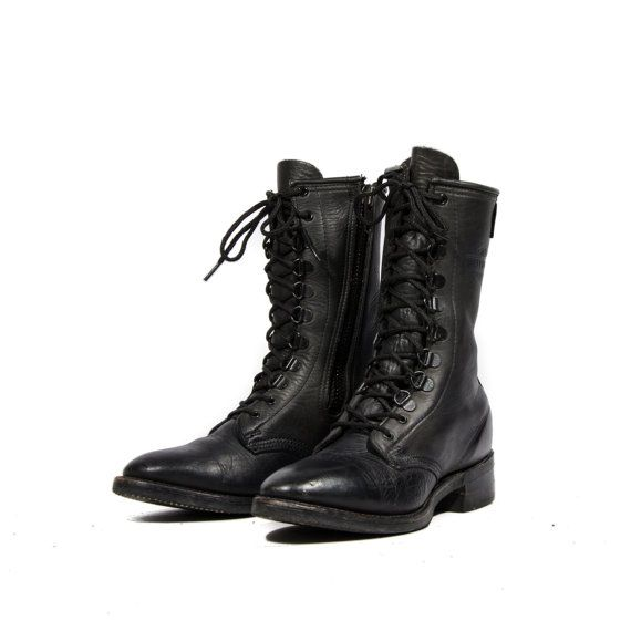 68d762f2732cb Women's Vintage Harley Davidson Zippered Motorcycle Boots Black Leather Boots  Women's size 8 1/2