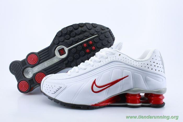 Hombre 103147 Blanco Rojo Nike Shox R4 Hombre oferta zapatillas ...