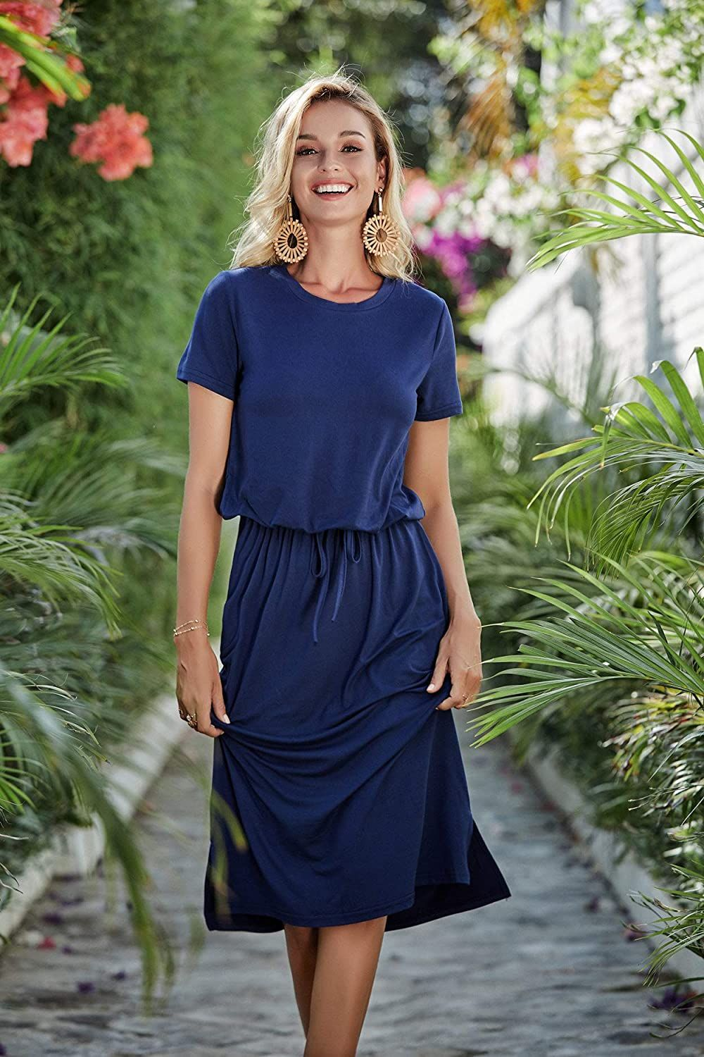 Simier Fariry Women S Modest Work Casual Midi Dress With Pockets At Amazon Women S Clothing Store Midi Dress Casual Casual Summer Dresses Dresses Casual Fall [ 1500 x 1000 Pixel ]