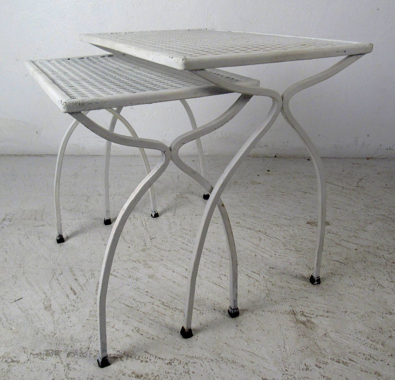 Marvelous Mid Century Set Of White Wrought Iron Nesting Tables