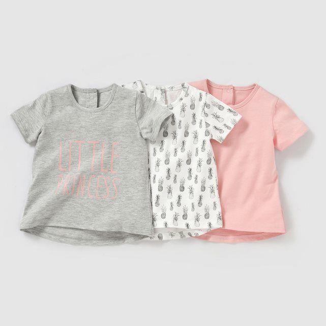 Le lot de 3 T-shirts manches courtes : 1 T-shirt gris + 1 T-shirt imprimé  ananas + 1 T-shirt rose. Fermeture pressionnée dos.Composition et  détailMatière ...
