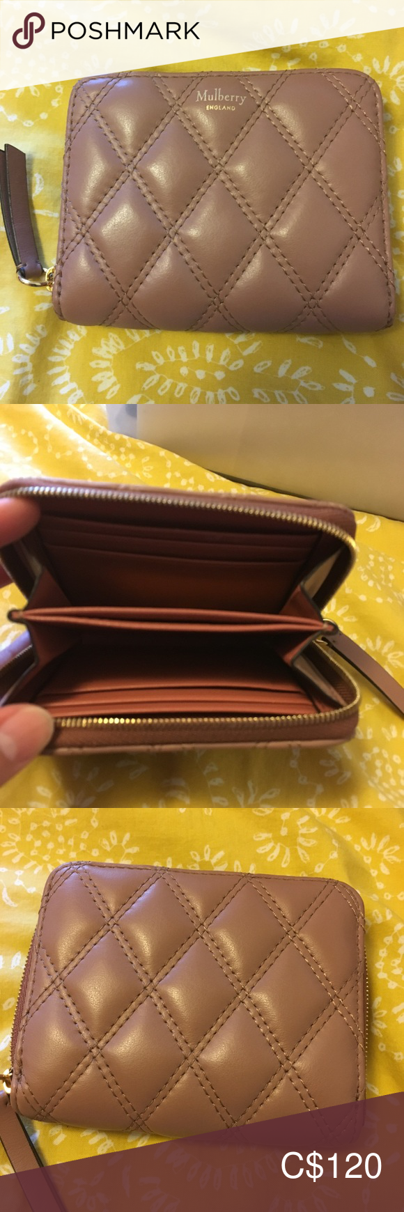 Excellent Brand New Mulberry Wallet #mulberrybag Excellent Brand New Mulberry Wallet Authentic Mulberry Small Zip Around Purse / Wallet.  Height 3½ Width 4¼ Depth ¾  Each side can hold 3 credit cards or ID cards. Mulberry Bags Wallets #mulberrybag